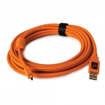 Tetherpro USB 2.0 naar Mini B 5pin kabel 4.6 meter - Oranje