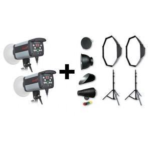 Set Van 2 Stuks Bresser CD-400 Flitsers Incl 2x Octabox Snoot Etc