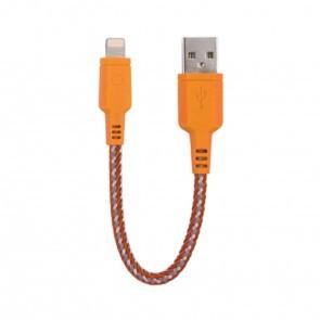 EnerGea Nylotough lightning USB kabel 16cm - Oranje