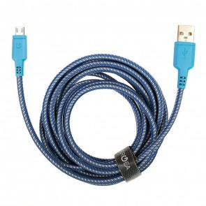 EnerGea Nylotough Charge & Sync kabel USB -> Micro USB, 3 mtr - Blauw