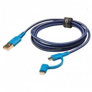 EnerGea Nylotough 2 in 1 micro USB en lightning USB kabel 1.5m - Blauw