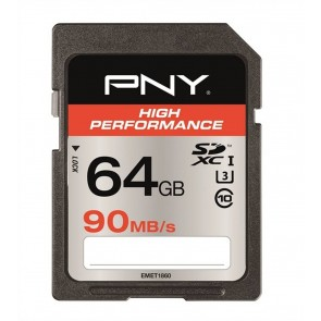PNY High performace SDXC kaart - 64GB 90MB/s - U3